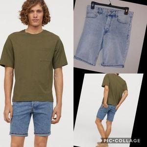 & denim h&m rolled cuff denim shorts slim fit